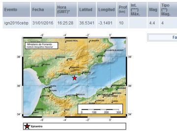 Localización y datos ofrecidos por el Instituto Geográfico Nacional sobre el terremoto sentido en Granada.