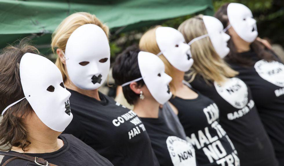 Protesta en A Coruña de mujeres maltratadas por la falta de protección.