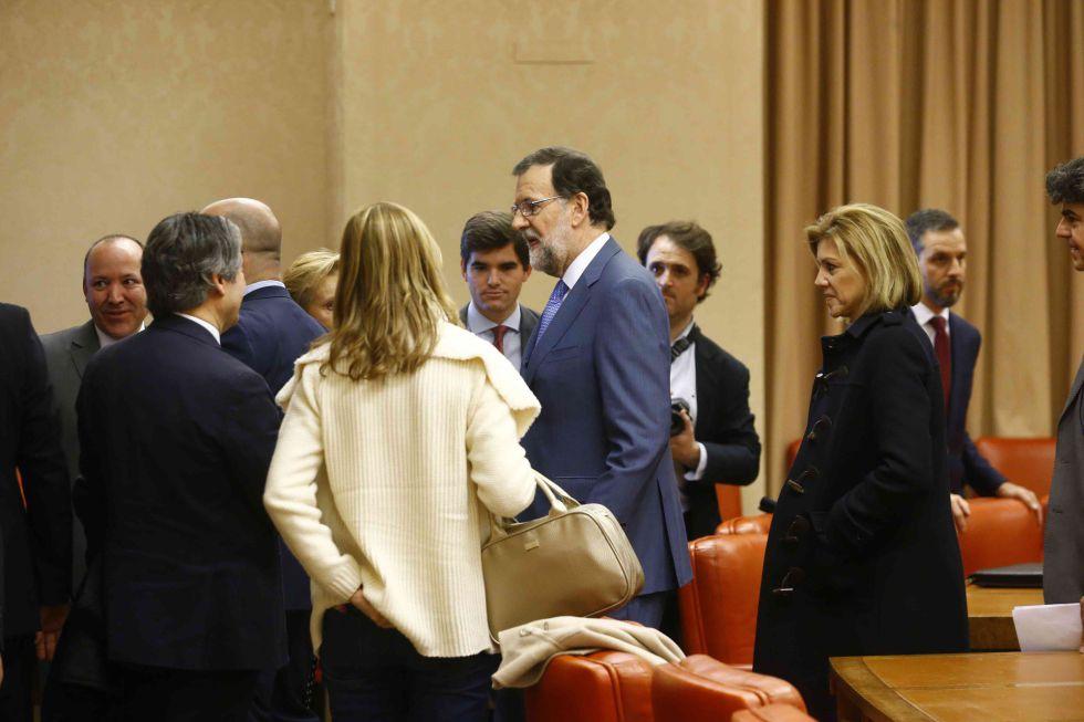 Mariano Rajoy, con el grupo parlamentario del PP en el Congreso.