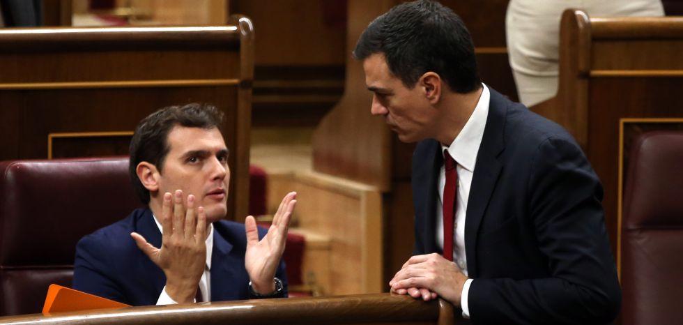 Albert Rivera y Pedro Sánchez, en el Congreso.