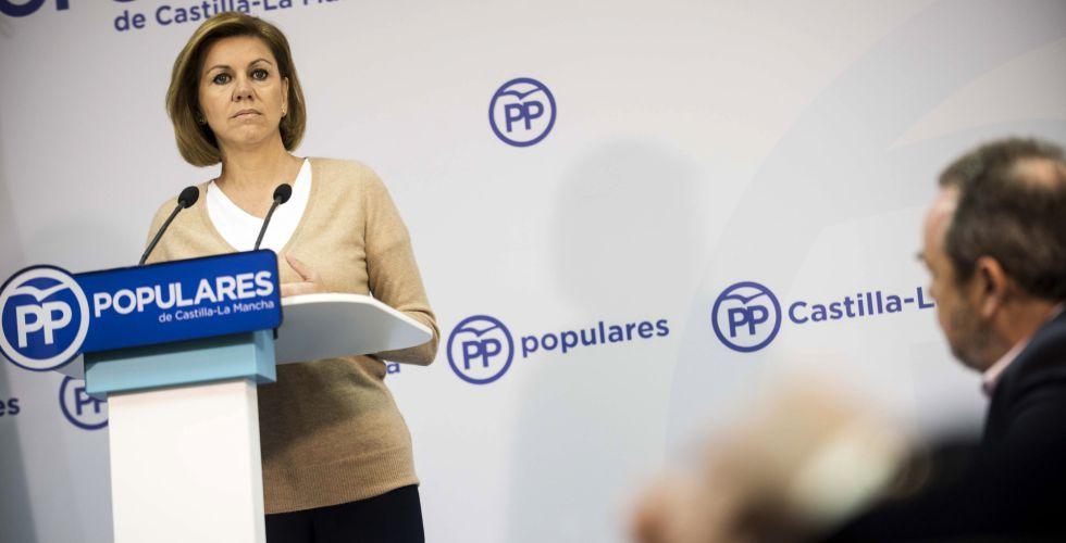 María Dolores de Cospedal, tras una reunión de trabajo con el PP de Toledo.