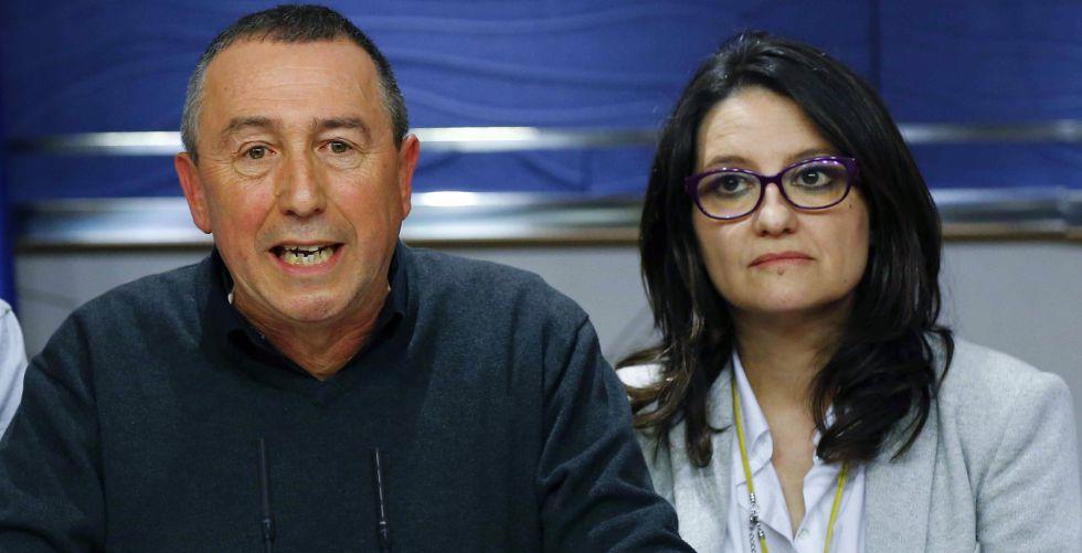 Joan Baldoví y Mònica Oltra, de Compromís, en el Congreso.