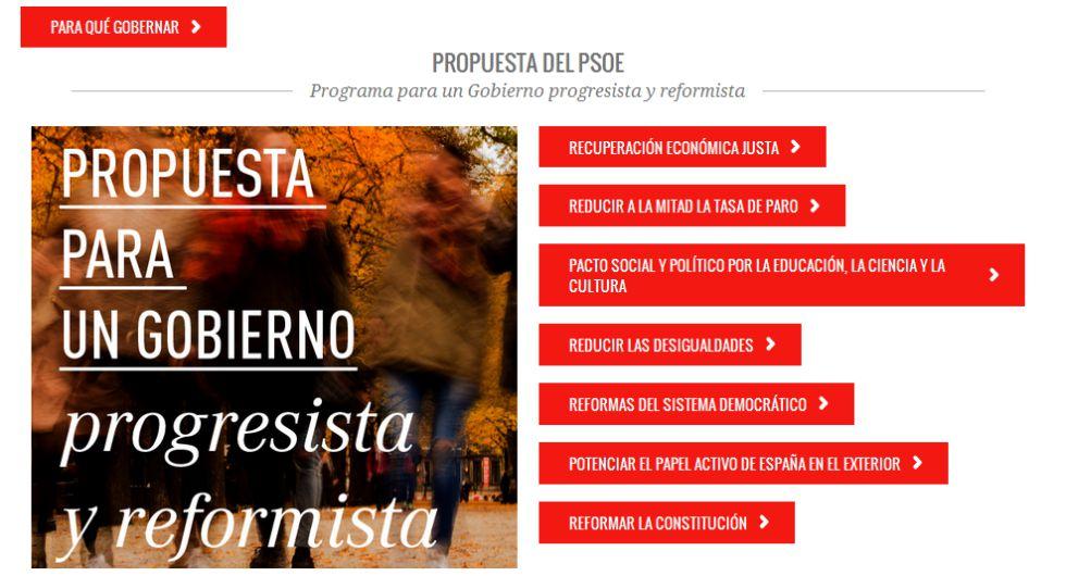Una captura de la página web del PSOE.