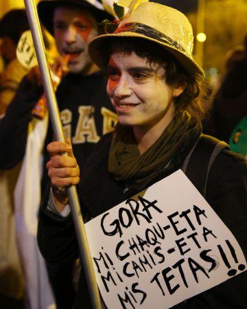 Una de las manifestantes en Madrid.