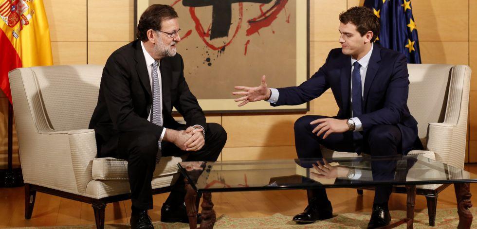 Mariano Rajoy y Albert Rivera, durante su reunión en el Congreso.