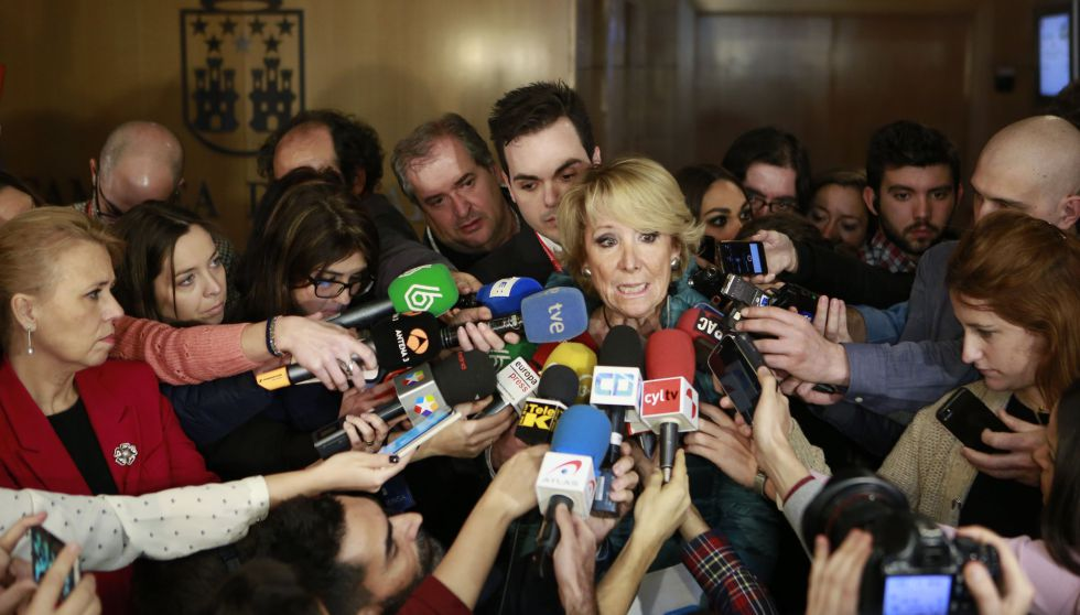 Esperanza Aguirre, antes de su comparecencia en la Asamblea de Madrid.