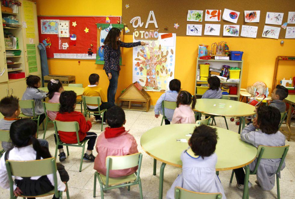 Aula de un colegio madrileño con más de un 70% de alumnado gitano. rn
