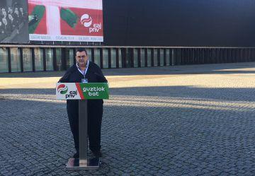 El responsable del área institucional del PNV, Koldo Mediavilla en el Baluarte de Pamplona