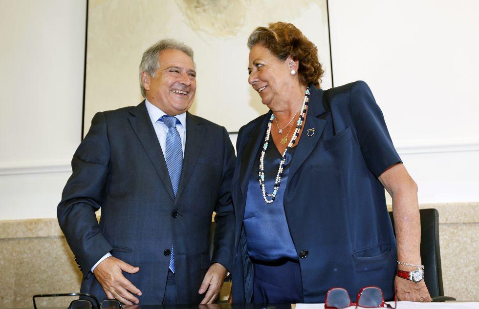 El expresidente de la Diputación de Valencia Alfonso Rus, detenido en la operación Taula, y la exalcaldesa Rita Barberá, salpicada por el caso.