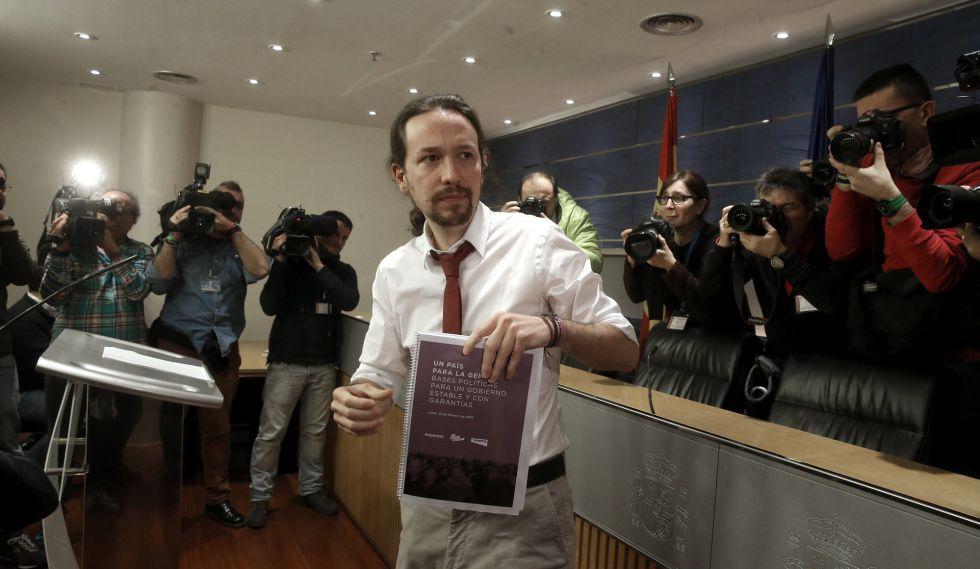 Pablo Iglesias presenta su oferta de Gobierno este lunes.