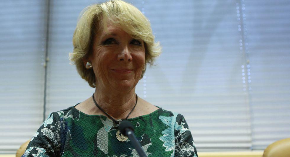 Aguirre en la comisión sobre corrupción, en Madrid, el pasado viernes.