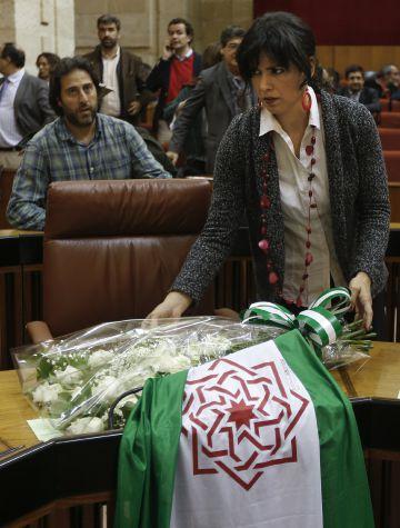 La líder de Podemos Andalucía, Teresa Rodríguez, en el Parlamento andaluz el pasado 10 de febrero.