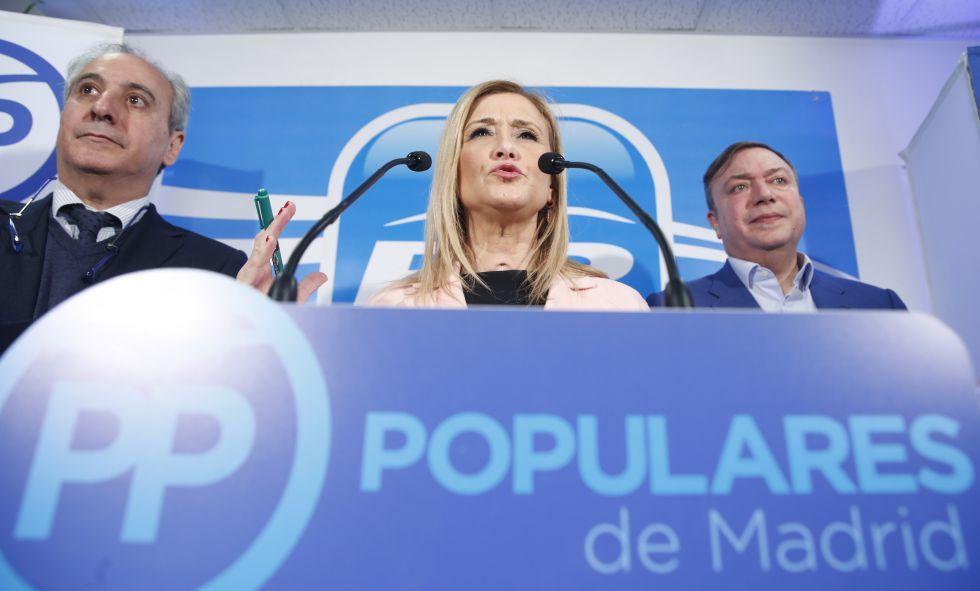 Cristina Cifuentes durante una rueda de prensa este martes.
