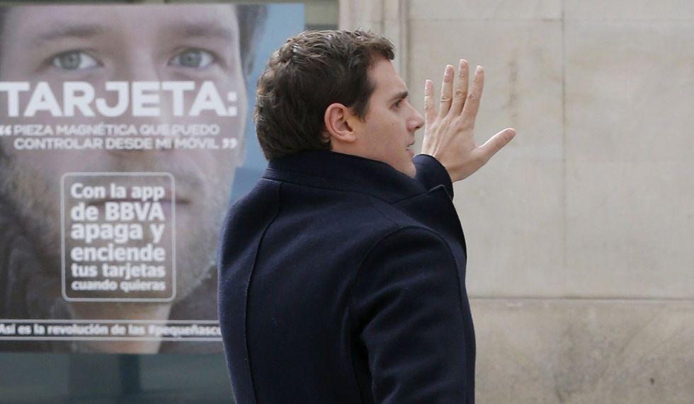 Albert Rivera hoy a la salida del Congreso.