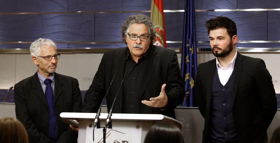 Santi Vila, Joan Tarda y Gabriel Rufian