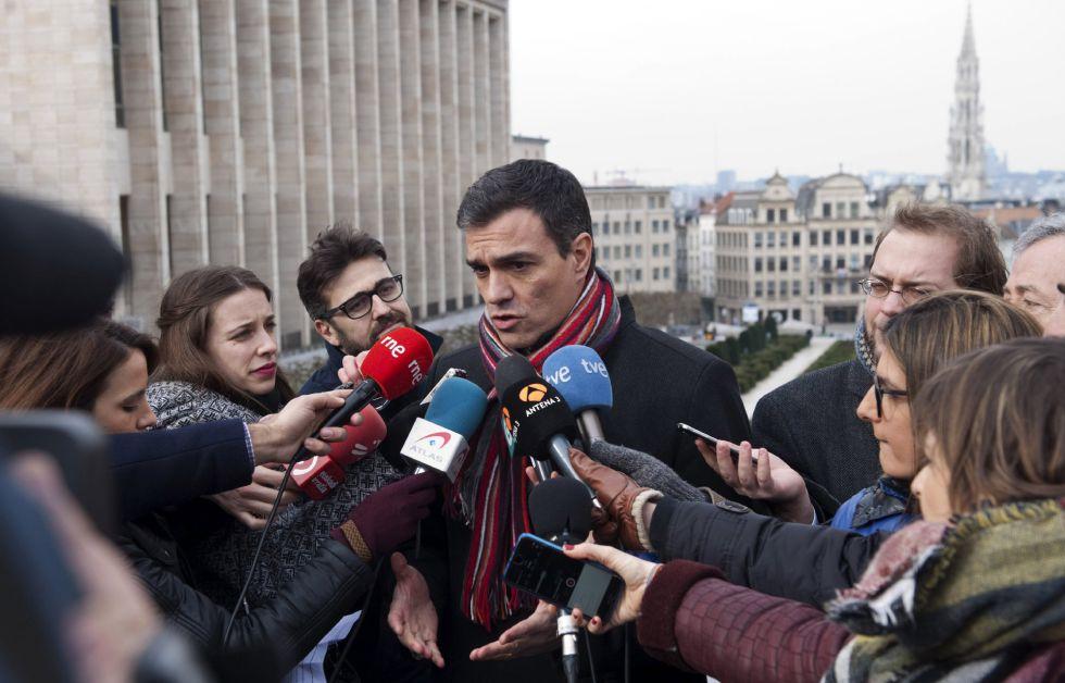 El secretario general del PSOE, Pedro Sánchez, en Bruselas.