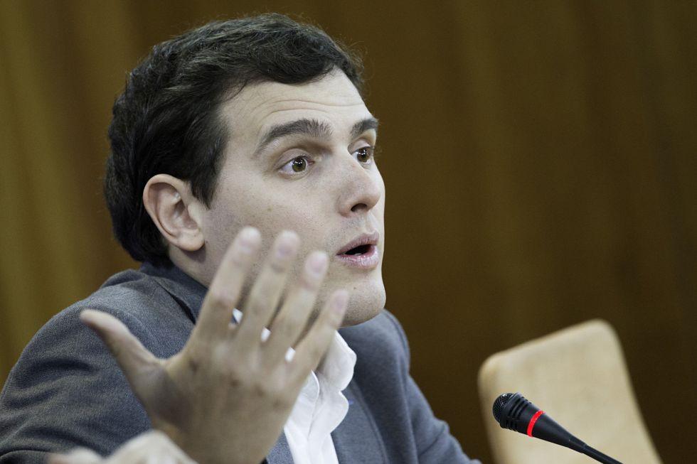 Albert Rivera hoy en el Parlamento de Andalucía.