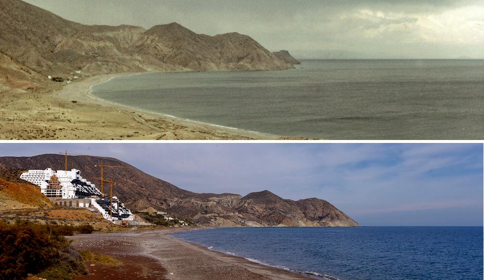 Arriba, el paraje de El Algarrobico de Carboneras (Almería) antes de que empezara a construirse el hotel en 2003. Abajo, esa misma playa la semana pasada.
