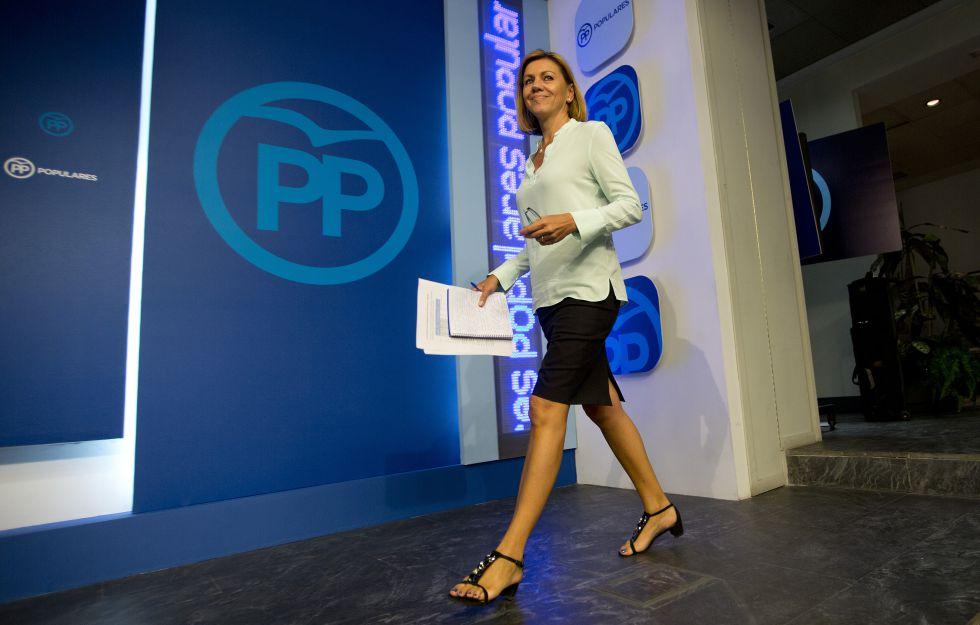 Cospedal en una rueda de prensa tras el Comité Ejecutivo Nacional del PP del pasado septiembre.