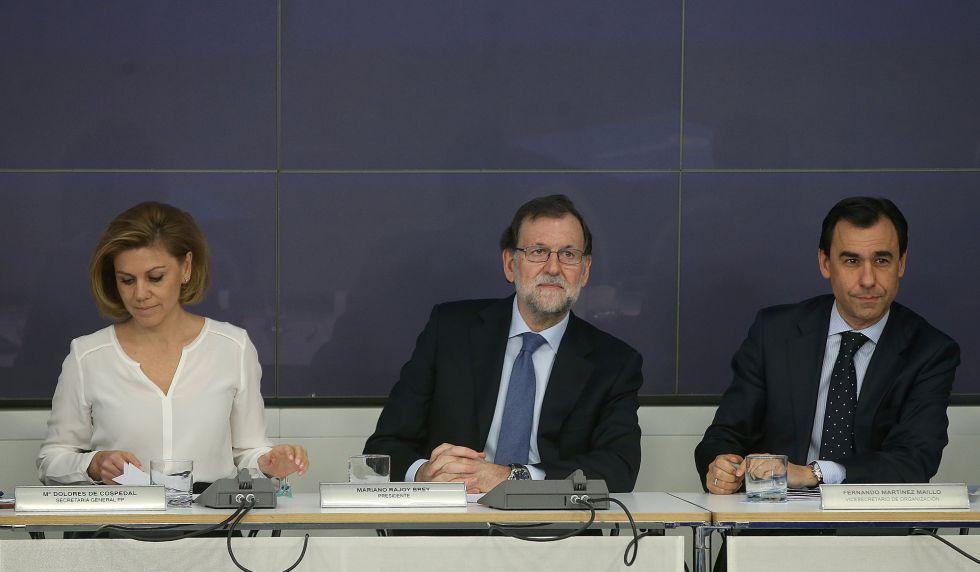 Reunión del Comité Ejecutivo Nacional del PP con Dolores de Cospedal, Mariano Rajoy y Martínez Maillo.