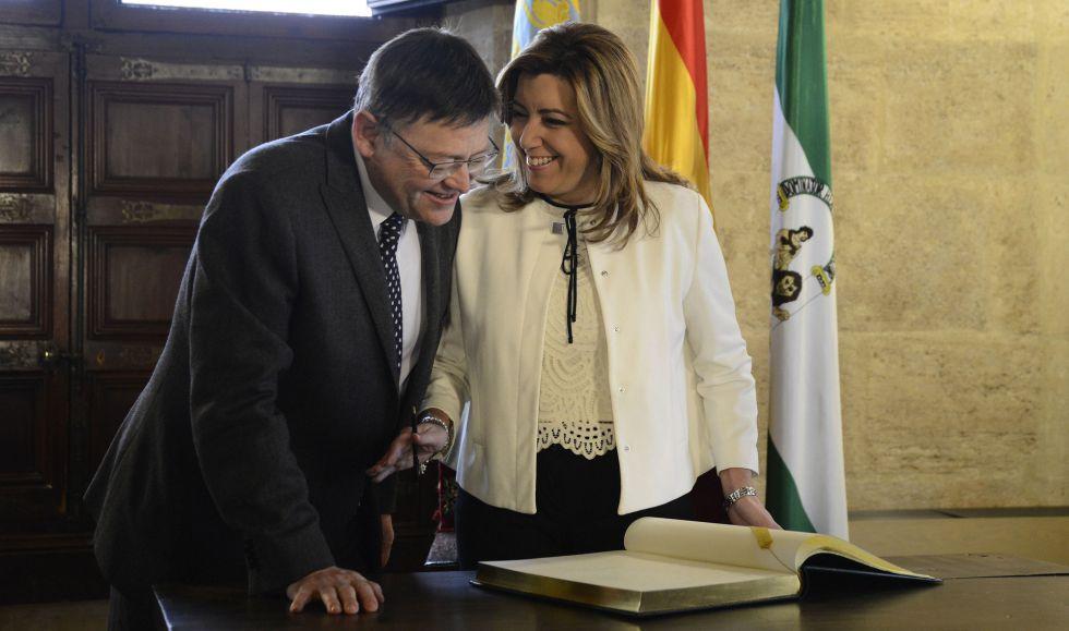 Ximo Puig y Susana Díaz en la Generalitat el pasado domingo.