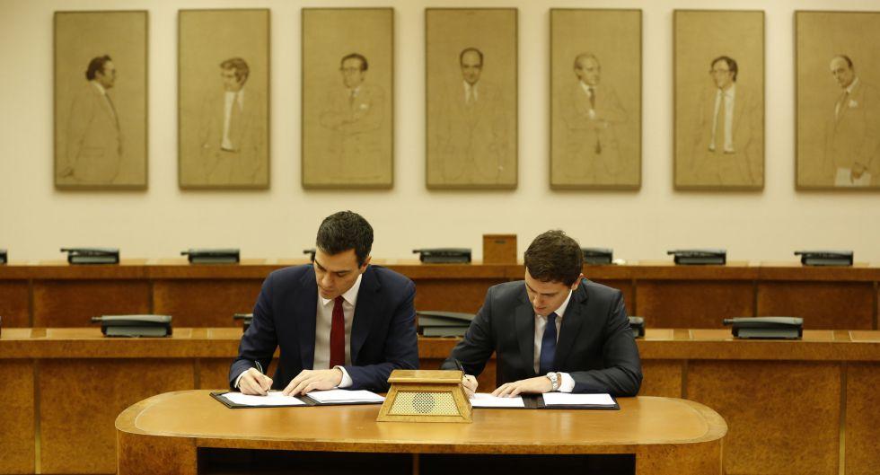 Sánchez y Rivera firman el miércoles el pacto entre PSOE y Ciudadanos.