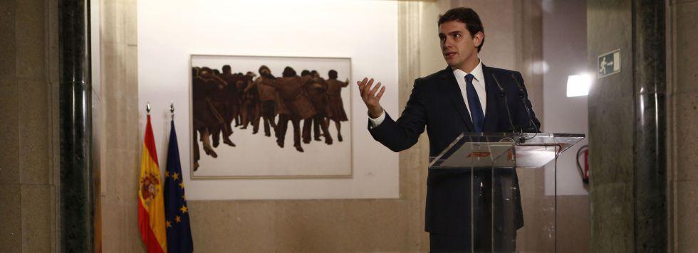 Albert Rivera, tras firmar el pacto de Ciudadanos con el PSOE.