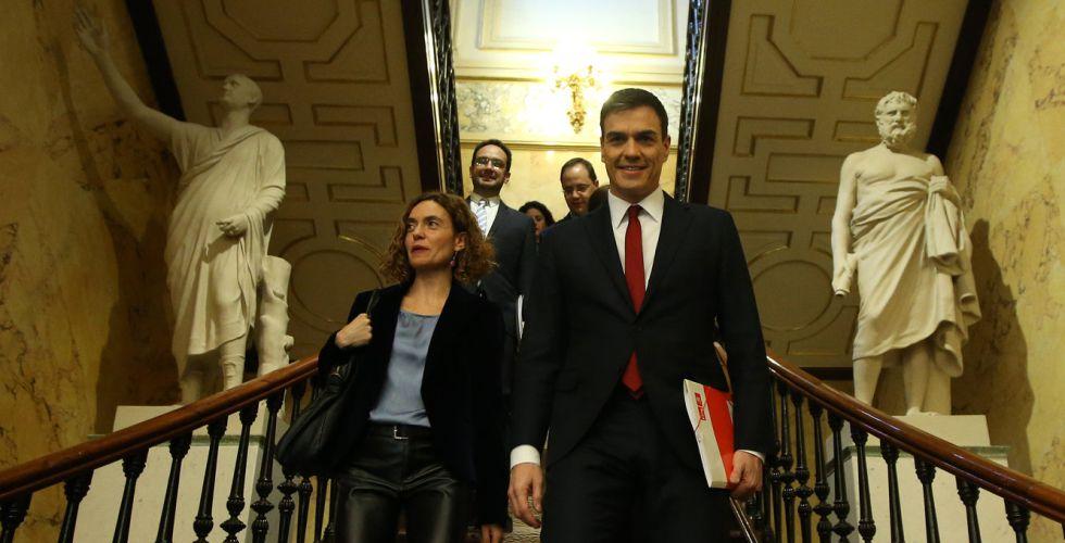Pedro Sánchez, en su llegada al Congreso este martes.