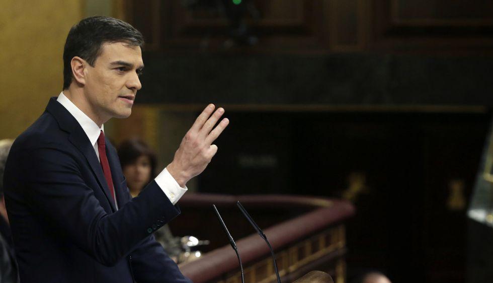El secretario general del PSOE, Pedro Sánchez, durante su intervención.