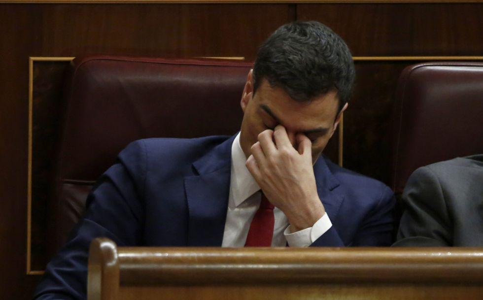 Pedro Sánchez en un momento del debate en el Congreso, el miércoles.