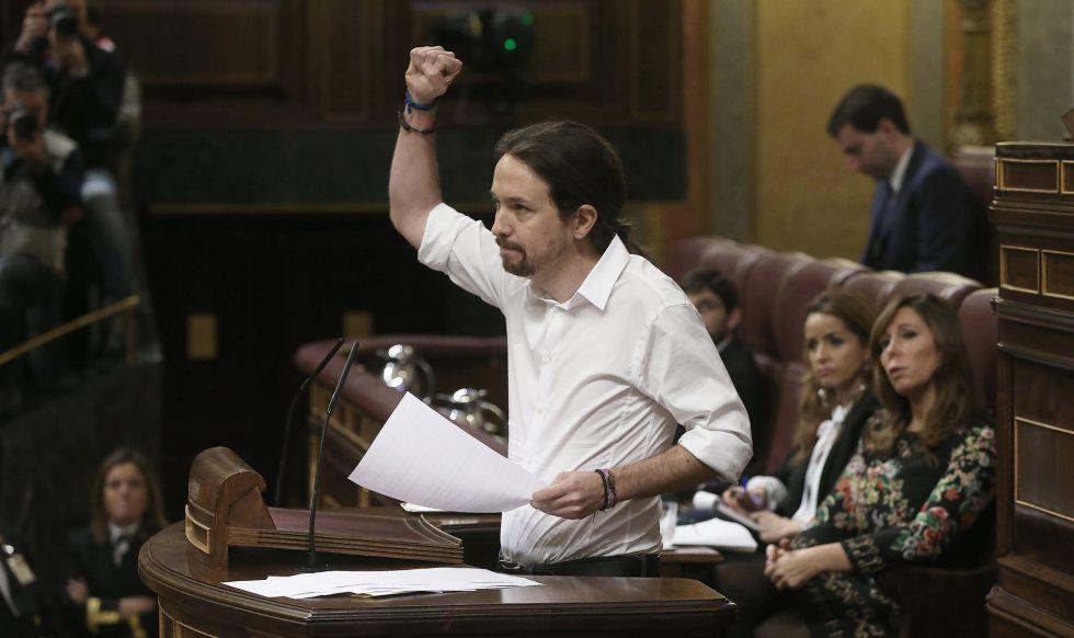 Pablo Iglesias, este miércoles en el Congreso.