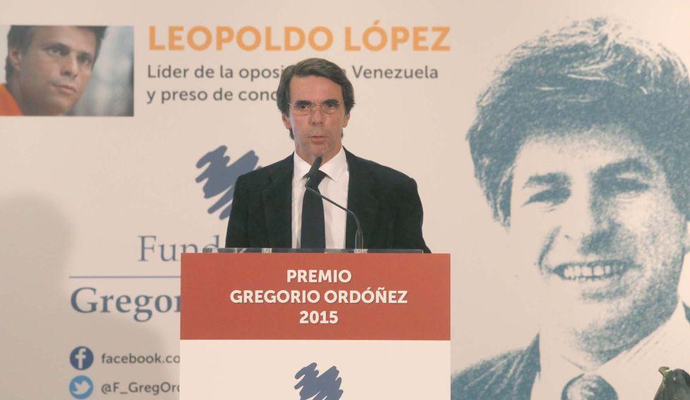 José María Aznar interviene en San Sebastián durante la entrega del Premio Gregorio Ordóñez a Leopoldo López.