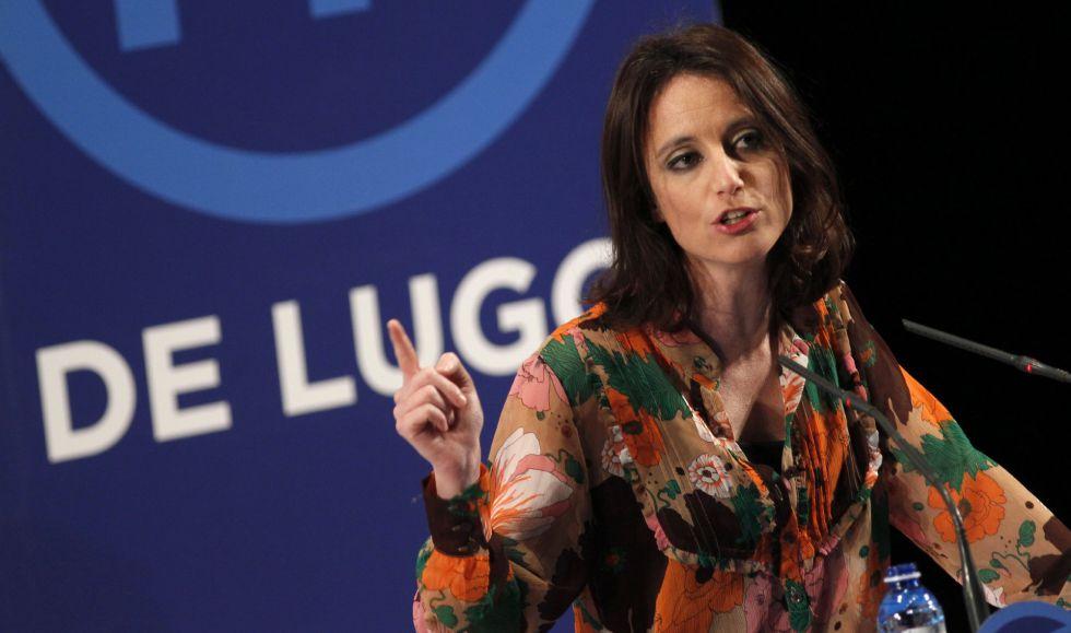 La vicesecretaria de Estudios y Programas del PP, Andrea Levy, durante su intervención en el congreso provincial del PP de Lugo.