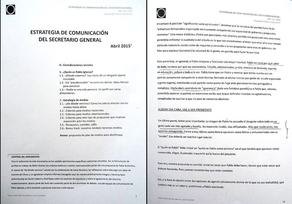 Informe sobre la estrategia de comunicación de Podemos.