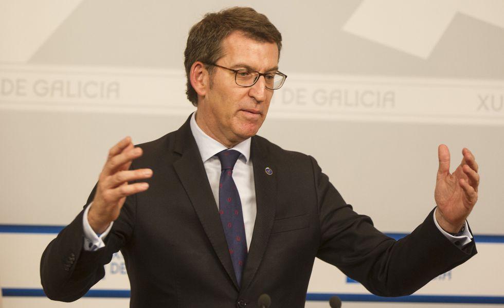 Núñez Feijóo, este jueves tras la reunión semanal de Gobierno.