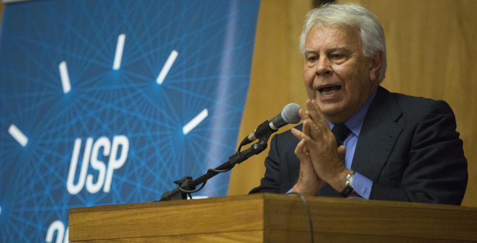 El expresidente del Gobierno Felipe González, este jueves, en Brasil.