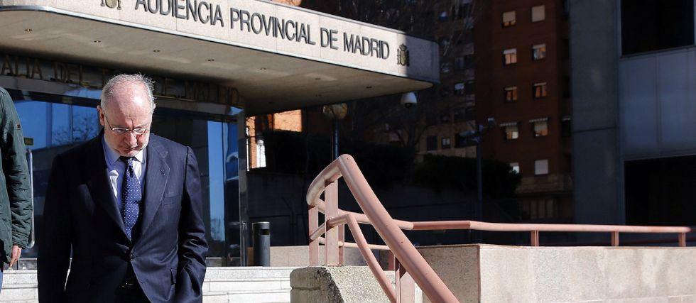 Rato abandona los juzgados tras declarar  como testigo a través de videoconferencia en el juicio del 'caso Nóos'.