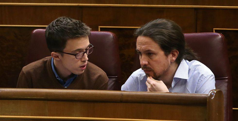 Errejón e Iglesias en el Congreso, este martes.