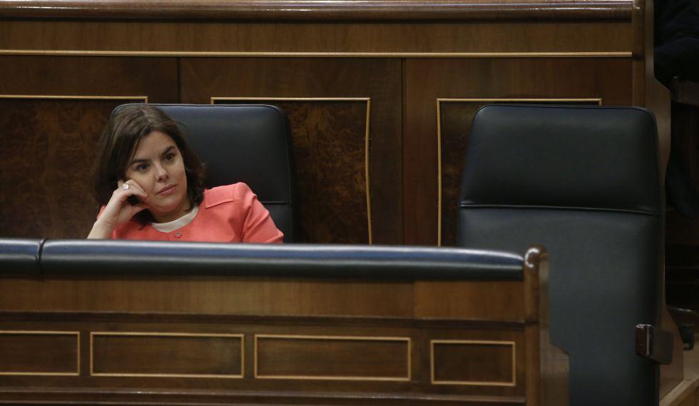 Soraya Saenz de Santamaria el pasado 15 de marzo en el Congreso.