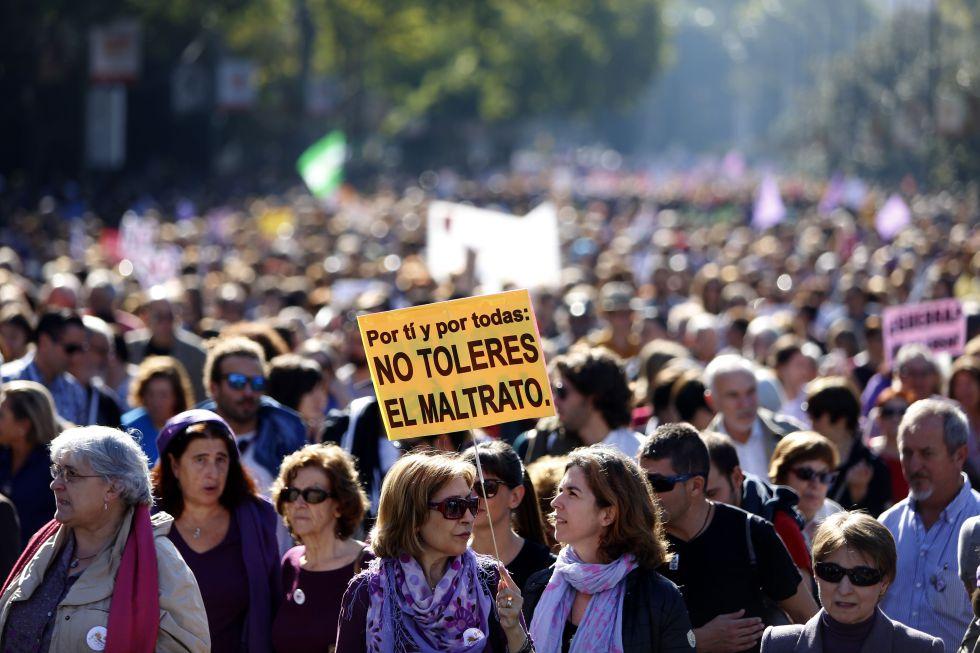 Manifestantes en una protesta celebrada en Madrid contra la violencia de género.