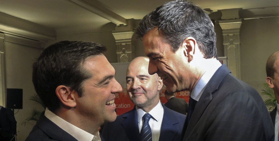 Tsipras y Sánchez, el jueves en Bruselas.