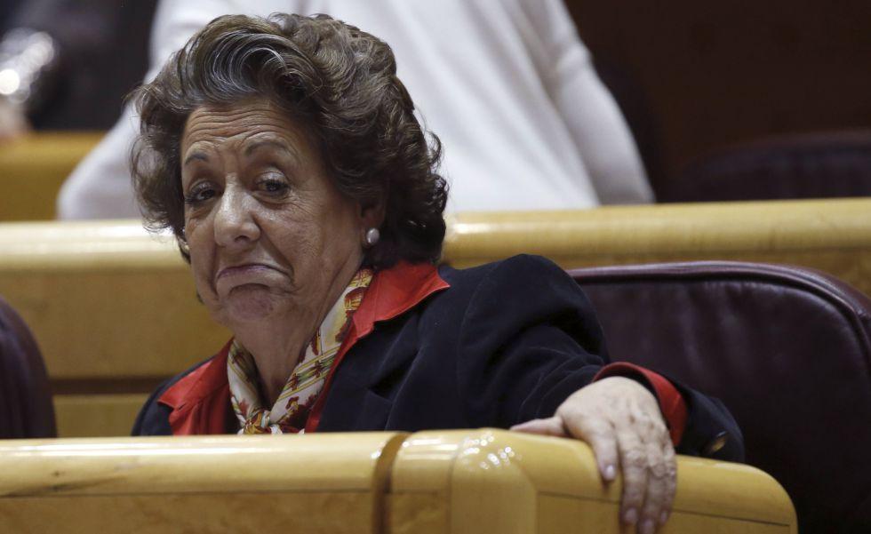 La exalcaldesa de Valencia, Rita Barberá, en una sesión del Senado esta semana.