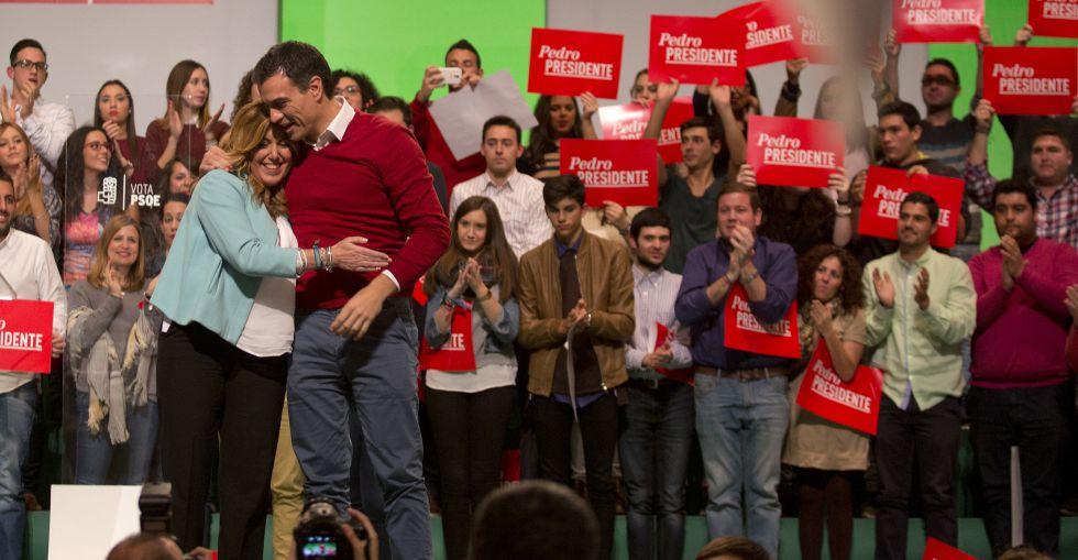 Pedro Sánchez y Susana Díaz, en la campaña electoral del 20-D en Málaga.
