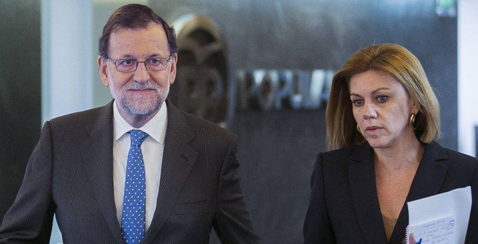 Mariano Rajoy y María Dolores de Cospedal, este martes.