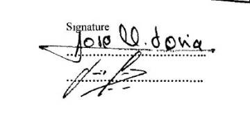 La firma que corresponde al ministro Soria en el documento.