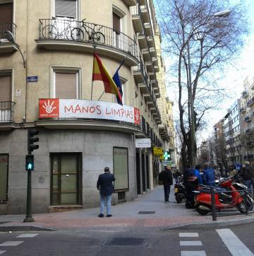 Sede de Manos Limpias en Madrid, esta mañana.