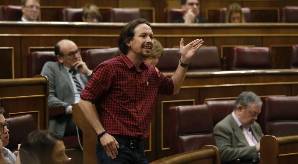 El líder de Podemos, Pablo Iglesias, durante su intervención en el Congreso de los Diputados en el último pleno de la XI Legislatura.
