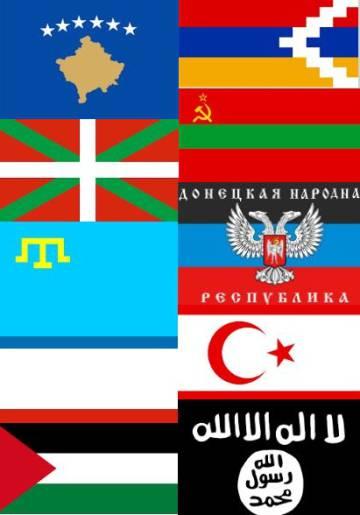 Las diez banderas usadas por Eurovisión, como ejemplo.