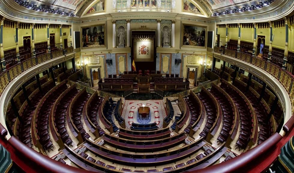 Hemiciclo vacío en el Congreso de los Diputados.