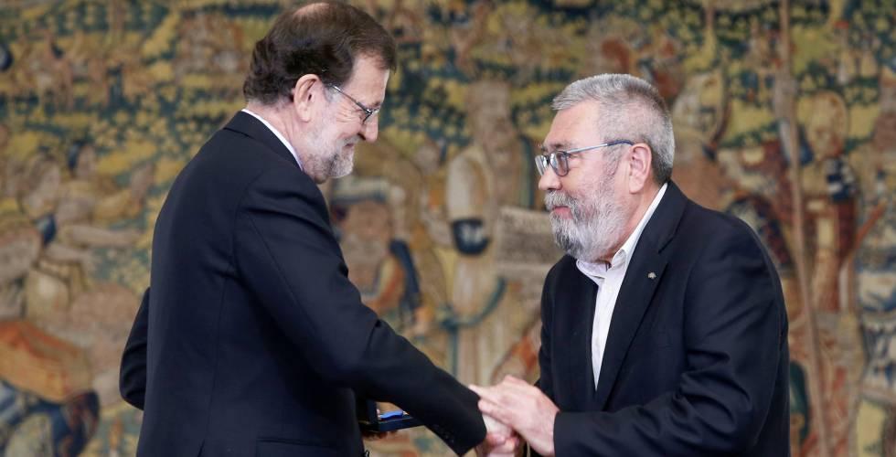 Mariano Rajoy y Cándido Méndez, este viernes.